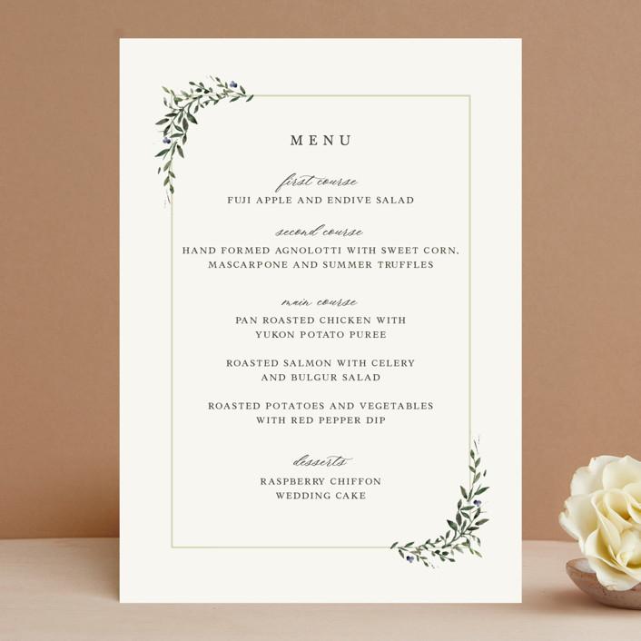 """Green Wreath"" - Menu Cards in Champagne by Lori Wemple."