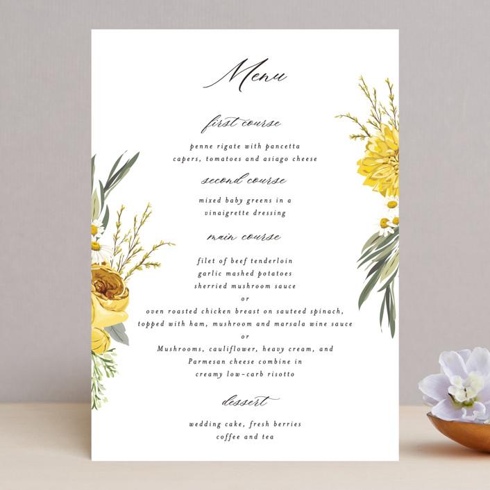 """Organic Florals"" - Menu Cards in Honey by Susan Moyal."