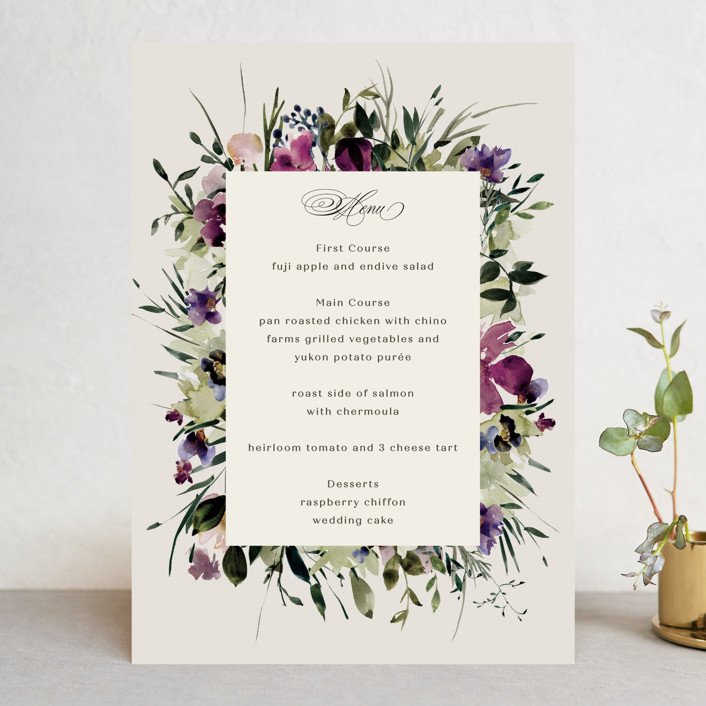"""Floral Love"" - Menu Cards in Lilac by Lori Wemple."