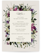 This is a purple menu card by Lori Wemple called Floral Love with standard printing on signature in standard.