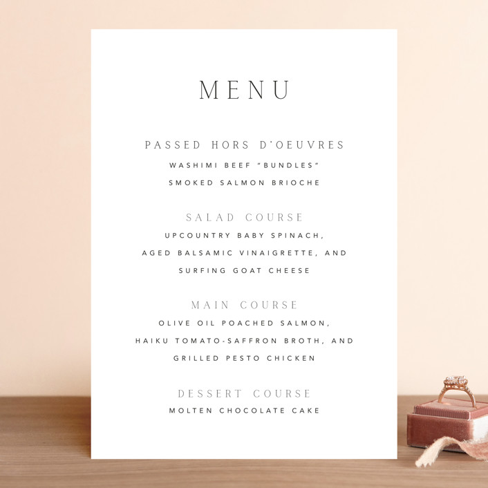"""Svelte"" - Menu Cards in Ivory by Fig and Cotton."