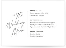 This is a black menu card by Laura Hamm called Landscape with standard printing on signature in standard.