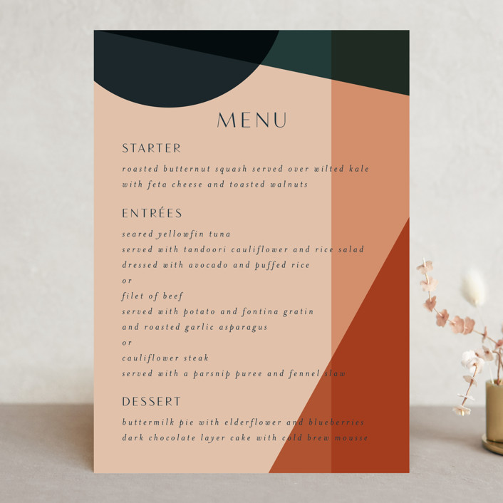"""Bold Geometric"" - Modern Menu Cards in Terracotta by Morgan Kendall."