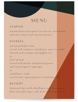 This is a orange menu card by Morgan Kendall called Bold Geometric with standard printing on signature in standard.