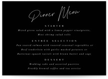 This is a black menu card by Ana Sharpe called Gotham with standard printing on signature in standard.