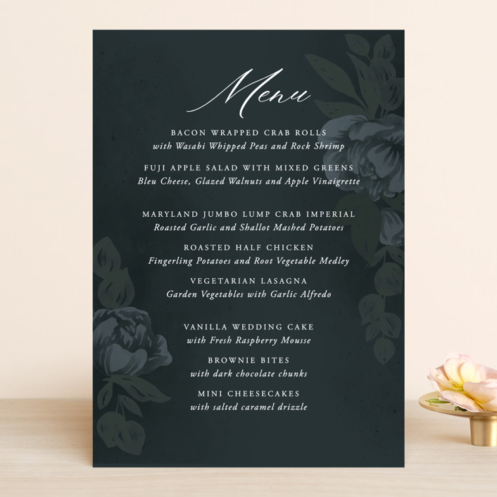 """Peaceful Garden"" - Menu Cards in Deep Sea by Jill Means."