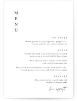 This is a black menu card by Jennifer Postorino called Handwritten with standard printing on signature in standard.