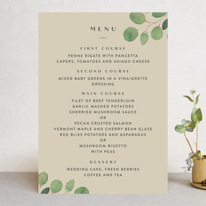 """Modern Leaves"" - Menu Cards in Smoked by Four Wet Feet Studio."