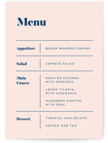 This is a blue menu card by Genna Blackburn called Vogue with standard printing on signature in standard.