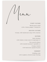 This is a beige menu card by Cass Loh called stylist script with standard printing on signature in standard.