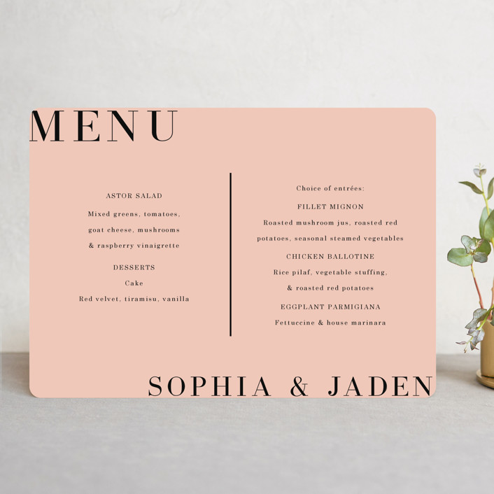 """""""Magazine Serif"""" - Menu Cards in Sand Dunes by Elly."""