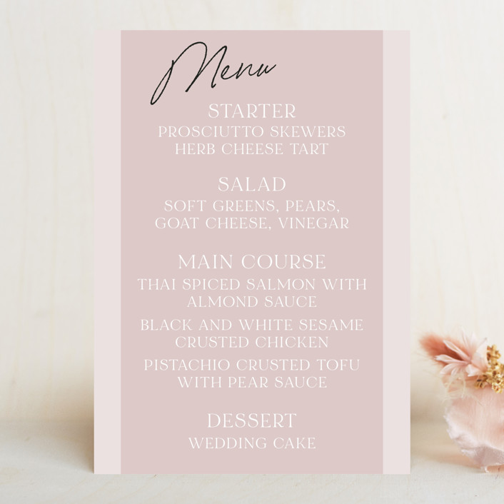 """""""Marry You"""" - Modern Menu Cards in Blush by Design Lotus."""