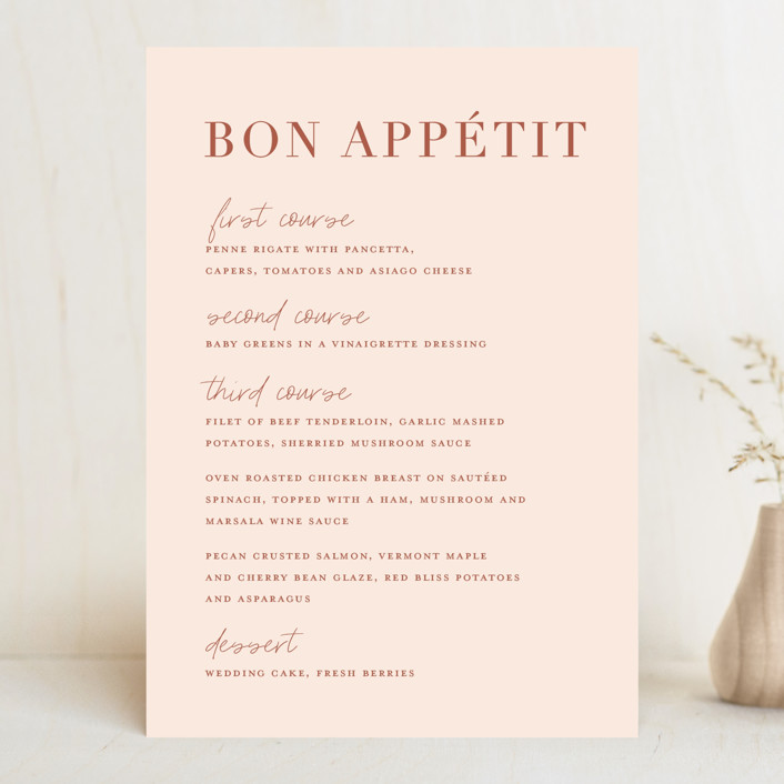 """""""Classic refresh"""" - Menu Cards in Peaches by Stacey Meacham."""