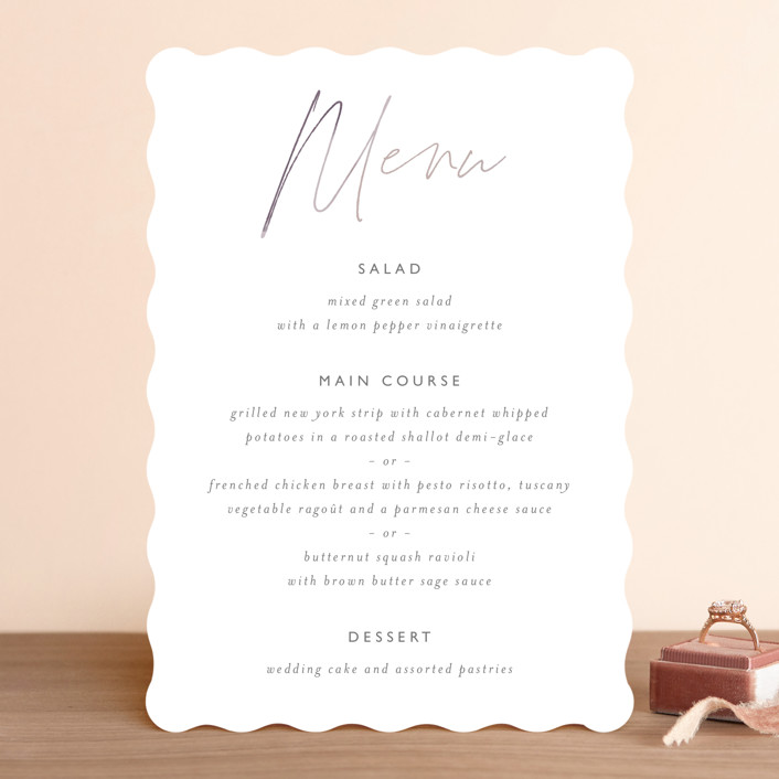 """Ethereal Names"" - Menu Cards in Plum by Carolyn MacLaren."
