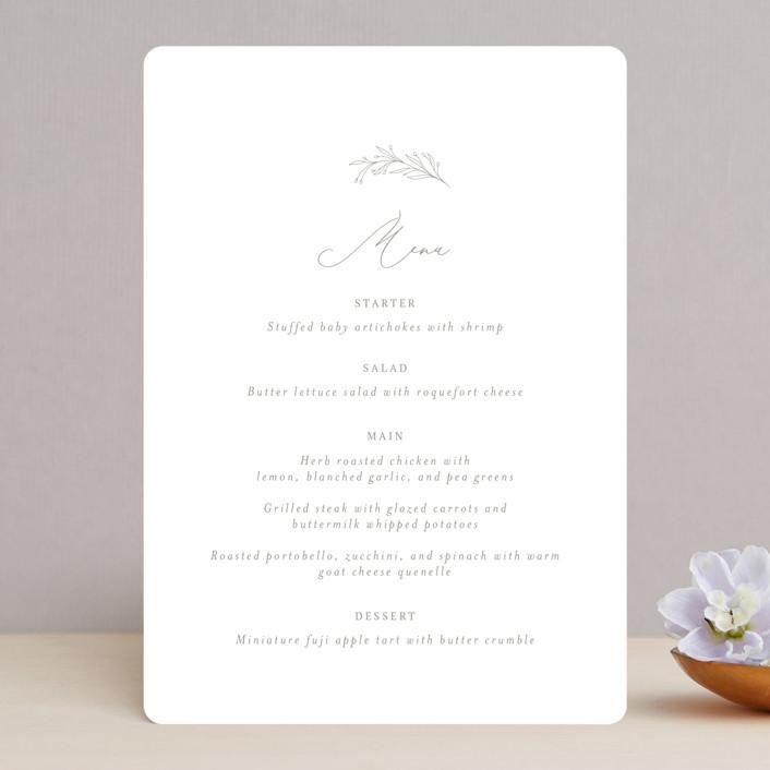 """""""Essential"""" - Menu Cards in Mist by Design Lotus."""