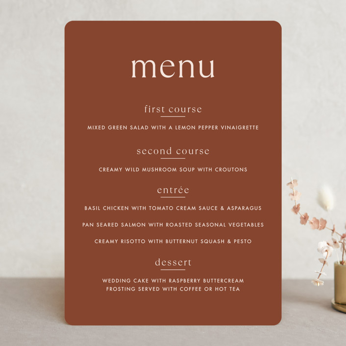 """""""There Will Be a Party"""" - Funny Menu Cards in Terra Cotta by Amy Payne."""