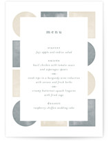 This is a grey menu card by Paden Gillette called abstract shapes with standard printing on signature in standard.