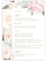 This is a white menu card by Phrosne Ras called beautiful peonies with standard printing on signature in standard.