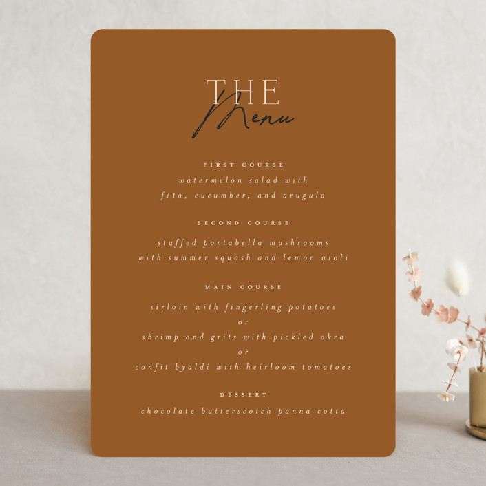 """""""Modern Traditionalist"""" - Menu Cards in Butterscotch by Morgan Kendall."""