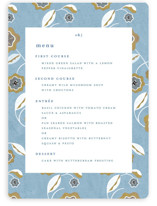 This is a blue menu card by Morgan Ramberg called The Love Birds with standard printing on signature in standard.
