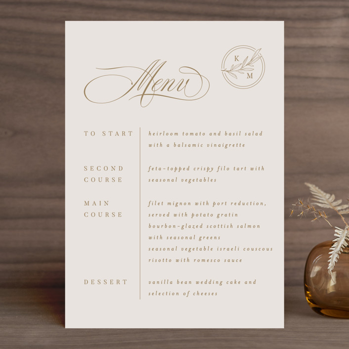 """Emblem"" - Menu Cards in Champagne by Everett Paper Goods."