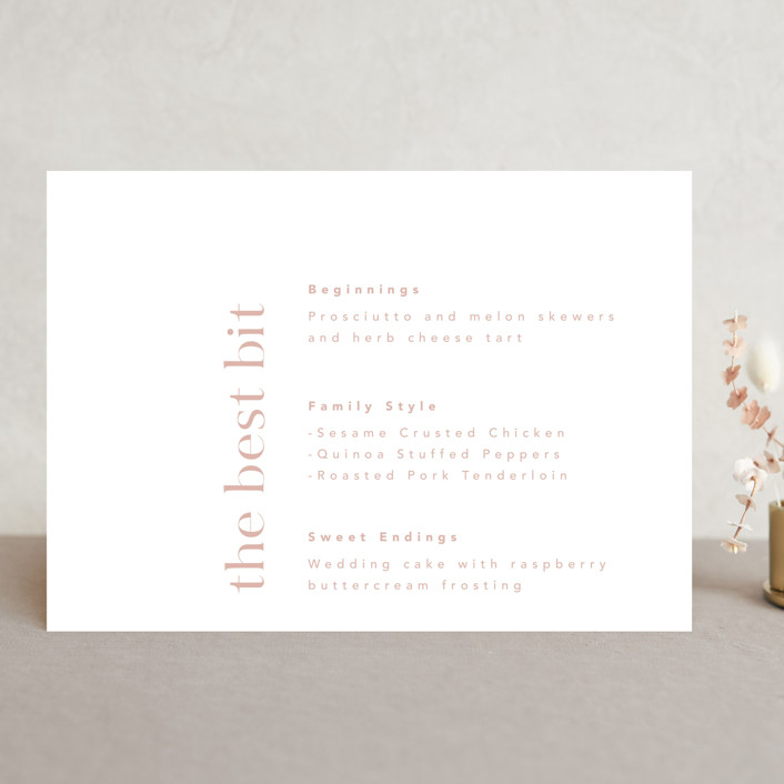 """Party Accordingly"" - Funny Menu Cards in Blush by Caitlin Considine."