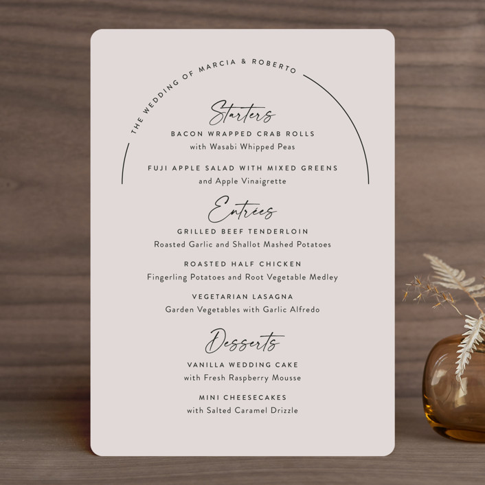 """""""Overjoyed"""" - Menu Cards in Almond by Jill Means."""