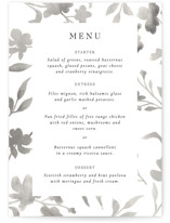 This is a black menu card by Pati Cascino called Floral Union with standard printing on signature in standard.