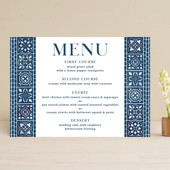 """""""Mediterranean Tiles"""" - Menu Cards in Ocean by GeekInk Design."""