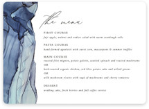 This is a blue menu card by Erin Deegan called Slate with standard printing on signature in standard.