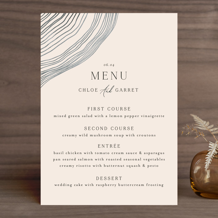 """""""Rings"""" - Modern Menu Cards in Natural by Alethea and Ruth."""