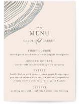 This is a beige menu card by Alethea and Ruth called Rings with standard printing on signature in standard.