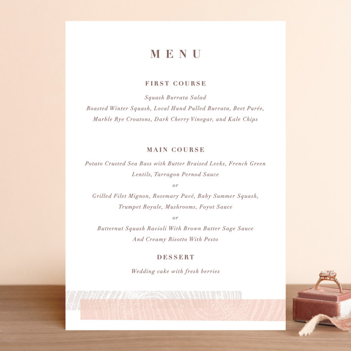 """""""engrained"""" - Rustic Menu Cards in Blossom by Robin Ott."""