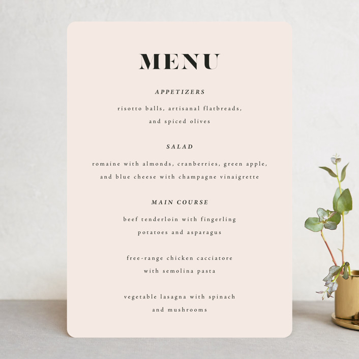 """""""Finally"""" - Funny Menu Cards in Ivory by Up Up Creative."""