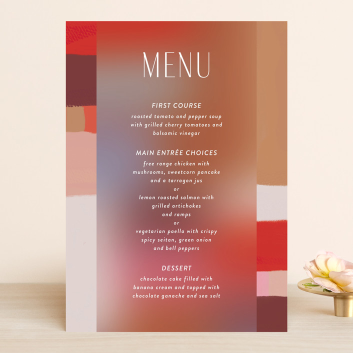 """""""Retro Grid"""" - Modern Menu Cards in Sunset by Simona Camp."""