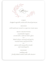 This is a pink menu card by Kimberly FitzSimons called Gathered with standard printing on signature in standard.