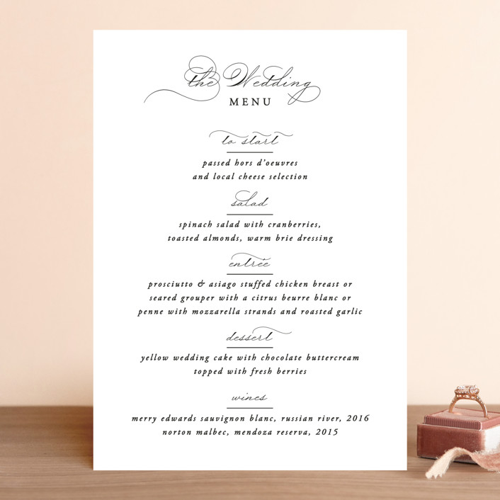 """""""Together With You"""" - Menu Cards in Noir by Kimberly FitzSimons."""