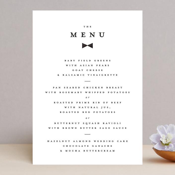 """""""Beau tied"""" - Modern Menu Cards in Tuxedo by Gwen Bedat."""