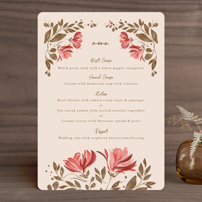 """""""Painterly Florals"""" - Menu Cards in Scarlet by Vivian Yiwing."""