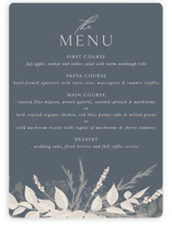 This is a blue menu card by Erin Deegan called Winter White Botanicals with standard printing on signature in standard.