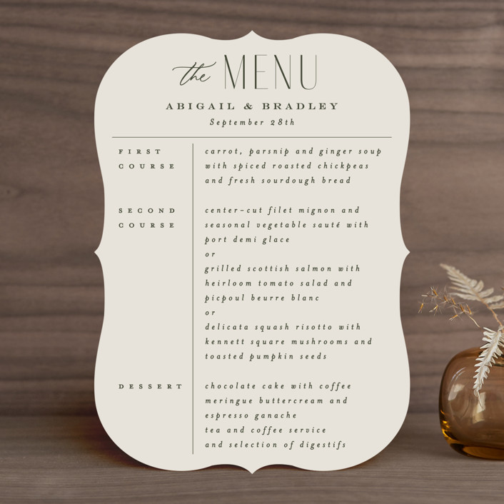 """""""Moderne"""" - Menu Cards in Graphite by Everett Paper Goods."""