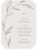 This is a beige menu card by Kelly Schmidt called Waldorf with standard printing on signature in standard.