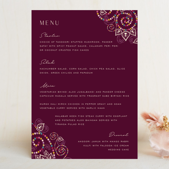 """""""Henna"""" - Menu Cards in Mixed Berry by fatfatin."""