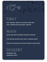 This is a blue menu card by Lindsay Stetson Thompson called Forever Intertwined with standard printing on signature in standard.