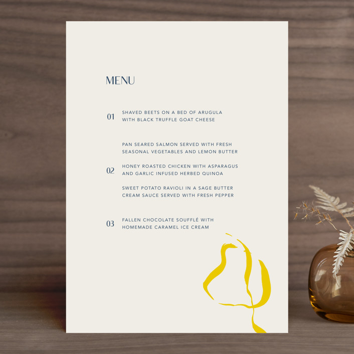 """""""Ophelia"""" - Modern Menu Cards in Golden by Mere Paper."""