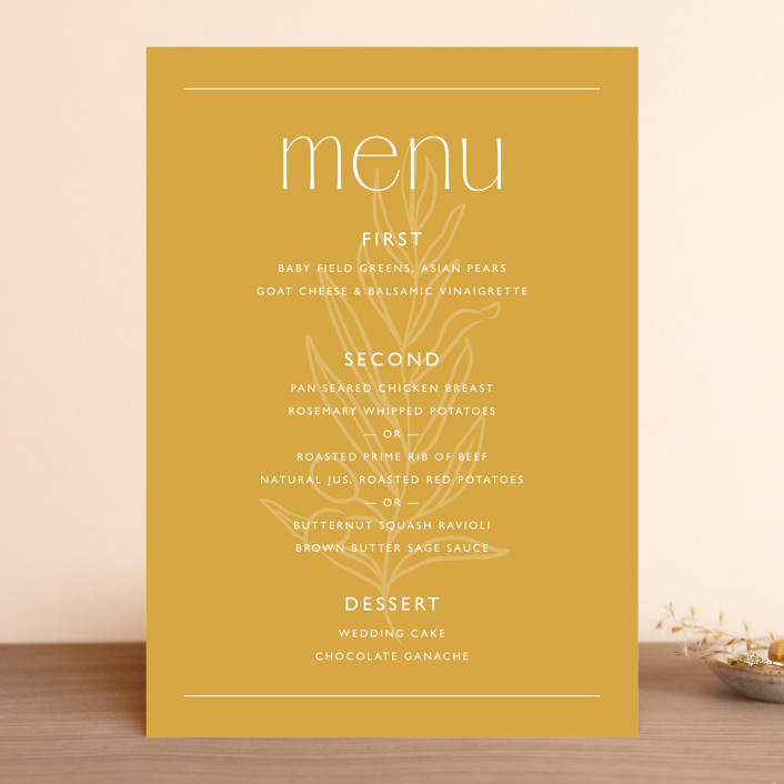 """""""goldfinch"""" - Menu Cards in Sunshine by Lindsay Stetson Thompson."""