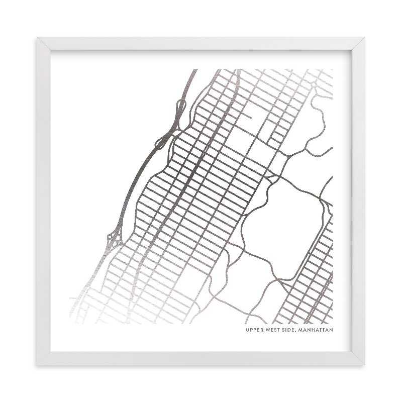 This is a silver custom map printing by Minted called Custom Map Foil Art.
