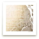 Custom Map Filled Foil Art