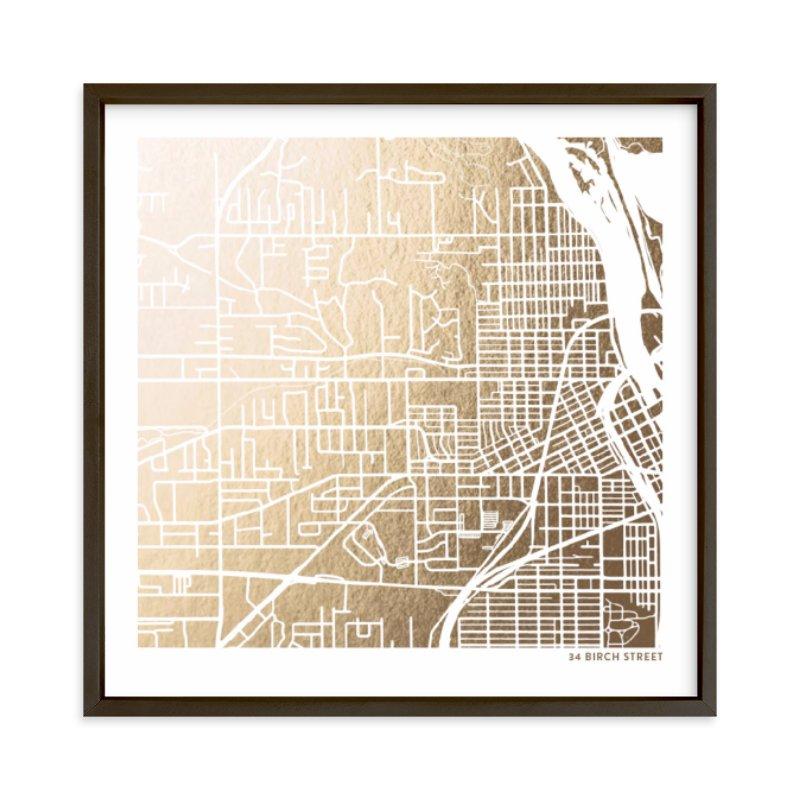 Custom Map Filled Foil Art Custom Map Foil Art