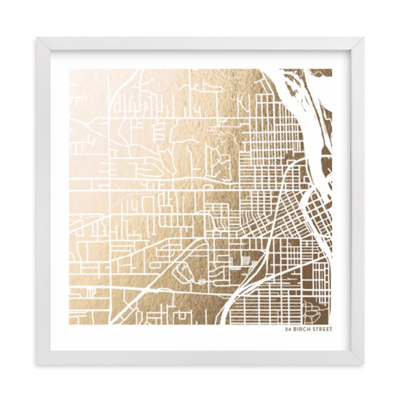 This is a gold custom map printing by Minted called Custom Map Filled Foil Art.